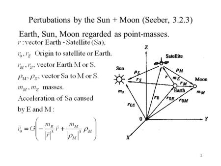 1 Pertubations by the Sun + Moon (Seeber, 3.2.3) Earth, Sun, Moon regarded as point-masses.