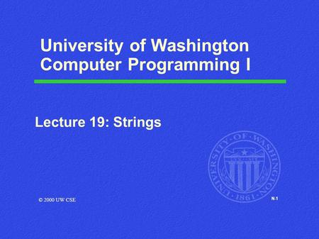 N-1 University of Washington Computer Programming I Lecture 19: Strings © 2000 UW CSE.
