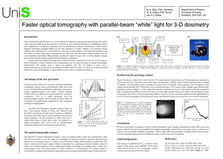Introduction Three-dimensional gel dosimetry is a novel method for radiation measurement motivated by the need to verify experimentally the doses produced.