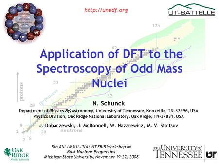 Application of DFT to the Spectroscopy of Odd Mass Nuclei N. Schunck Department of Physics  Astronomy, University of Tennessee, Knoxville, TN-37996, USA.