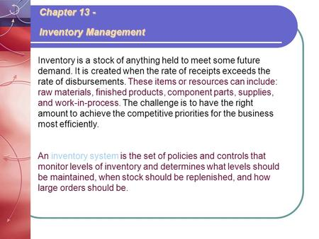 Chapter 13 - Inventory Management