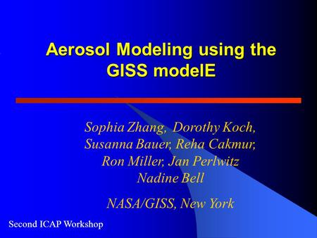 Second ICAP Workshop Aerosol Modeling using the GISS modelE Sophia Zhang, Dorothy Koch, Susanna Bauer, Reha Cakmur, Ron Miller, Jan Perlwitz Nadine Bell.