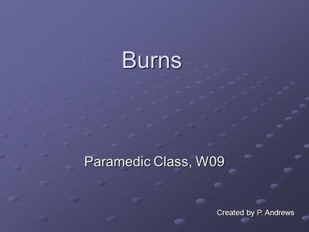 Burns Paramedic Class, W09 Created by P. Andrews.