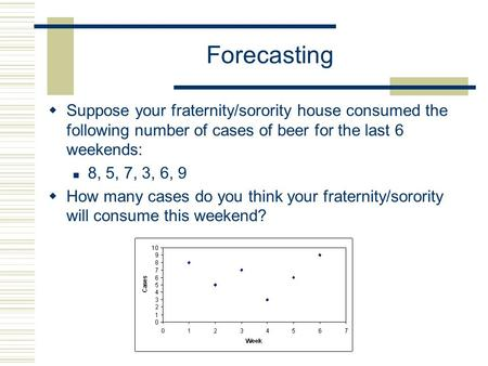 Forecasting  Suppose your fraternity/sorority house consumed the following number of cases of beer for the last 6 weekends: 8, 5, 7, 3, 6, 9  How many.