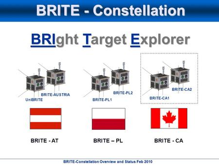 BRITE-Constellation Overview and Status Feb 2010 BRITE - Constellation BRIght Target Explorer BRITE - ATBRITE - CABRITE – PL UniBRITE BRITE-AUSTRIA BRITE-PL1.