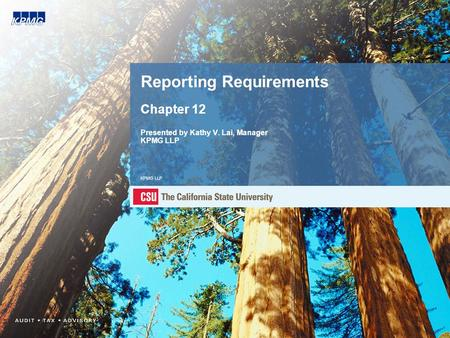Reporting Requirements Chapter 12 Presented by Kathy V. Lai, Manager KPMG LLP KPMG LLP.