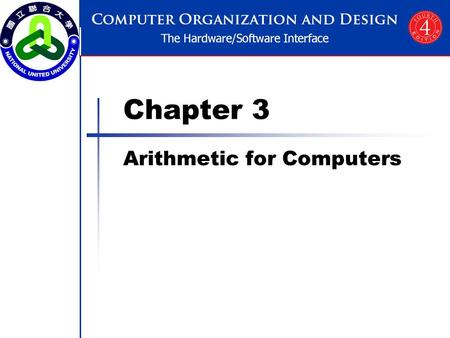 Chapter 3 Arithmetic for Computers. Chapter 3 — Arithmetic for Computers — 2 Arithmetic for Computers Operations on integers Addition and subtraction.