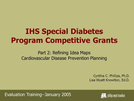 IHS Special Diabetes Program Competitive Grants Part 2: Refining Idea Maps Cardiovascular Disease Prevention Planning Cynthia C. Phillips, Ph.D. Lisa Wyatt.