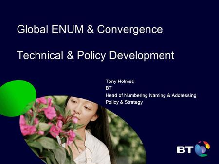 Global ENUM & Convergence Technical & Policy Development Tony Holmes BT Head of Numbering Naming & Addressing Policy & Strategy.