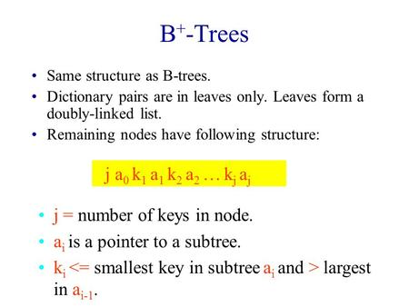 B + -Trees Same structure as B-trees. Dictionary pairs are in leaves only. Leaves form a doubly-linked list. Remaining nodes have following structure: