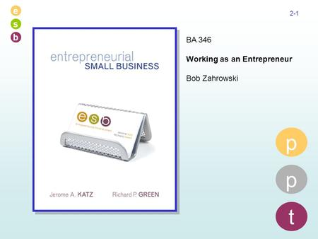 E s b 2-1 p p t BA 346 Working as an Entrepreneur Bob Zahrowski.