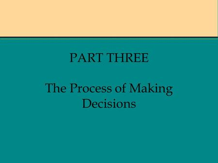 PART THREE The Process of Making Decisions. Chapter 9 PROBLEM RECOGNITION & INFORMATION SEARCH.