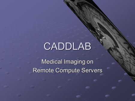 CADDLAB Medical Imaging on Remote Compute Servers.