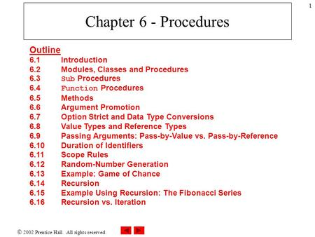  2002 Prentice Hall. All rights reserved. 1 Chapter 6 - Procedures Outline 6.1Introduction 6.2 Modules, <strong>Classes</strong> and Procedures 6.3 Sub Procedures 6.4.