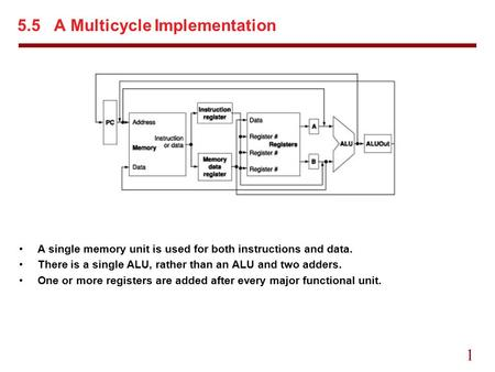 1 5.5 A Multicycle Implementation A single memory unit is used for both instructions and data. There is a single ALU, rather than an ALU and two adders.