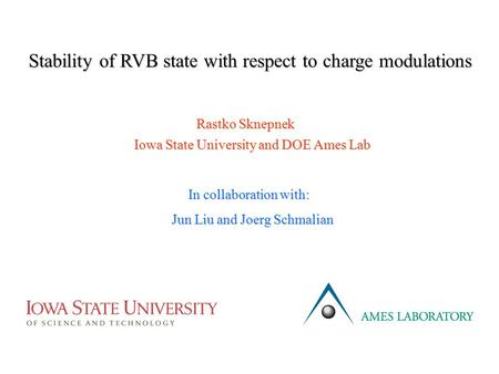 Stability of RVB state with respect to charge modulations Rastko Sknepnek Iowa State University and DOE Ames Lab In collaboration with: Jun Liu and Joerg.