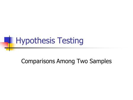 Hypothesis Testing Comparisons Among Two Samples.