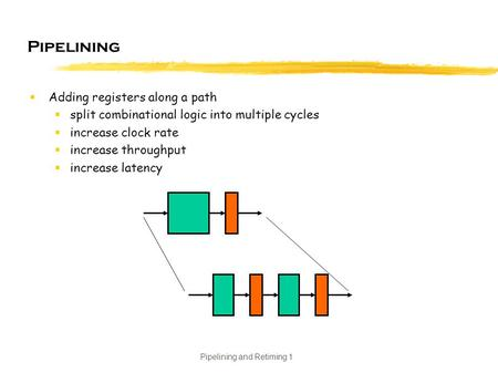 Pipelining and Retiming 1 Pipelining  Adding registers along a path  split combinational logic into multiple cycles  increase clock rate  increase.
