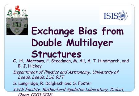 Exchange Bias from Double Multilayer Structures C. H. Marrows, P. Steadman, M. Ali, A. T. Hindmarch, and B. J. Hickey Department of Physics and Astronomy,