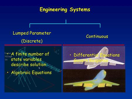 Engineering Systems Lumped Parameter (Discrete) Continuous A finite number of state variables describe solution Algebraic Equations Differential Equations.