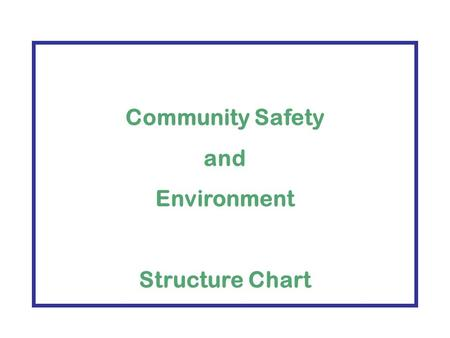 Community Safety and Environment Structure Chart.