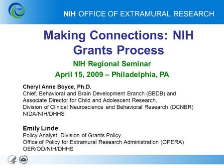 Opera fundamentals of the nih grants process george for Extra mural research
