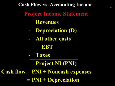 1 Cash Flow vs. Accounting Income Project Income Statement Revenues -Depreciation (D) - All other costs EBT -Taxes Project NI (PNI) Cash flow = PNI + Noncash.