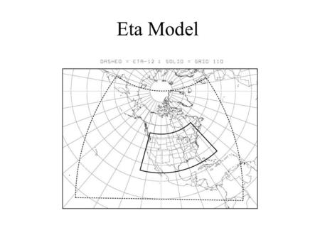Eta Model. Hybrid and Eta Coordinates ground MSL ground Pressure domain Sigma domain  = 0  = 1  = 1 Ptop  = 0.