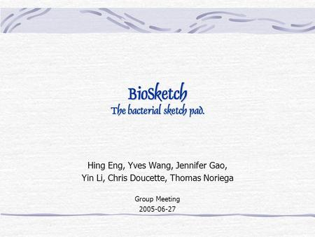 BioSketch The bacterial sketch pad. Hing Eng, Yves Wang, Jennifer Gao, Yin Li, Chris Doucette, Thomas Noriega Group Meeting 2005-06-27.