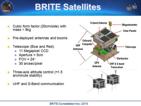 BRITE-Constellation Nov. 2010 BRITE Satellites Cubic form factor (20cm/side) with mass < 8kg Cubic form factor (20cm/side) with mass < 8kg Pre-deployed.