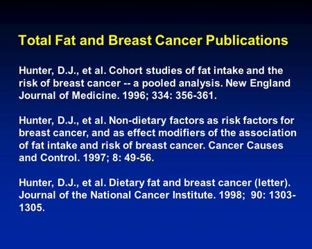 Hunter, D.J., et al. Cohort studies of fat intake and the risk of breast cancer -- a pooled analysis. New England Journal of Medicine. 1996; 334: 356-361.