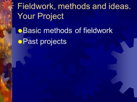 Fieldwork, methods and ideas. Your Project  Basic methods of fieldwork  Past projects.