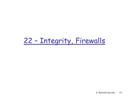 8: Network Security8-1 22 – Integrity, Firewalls.