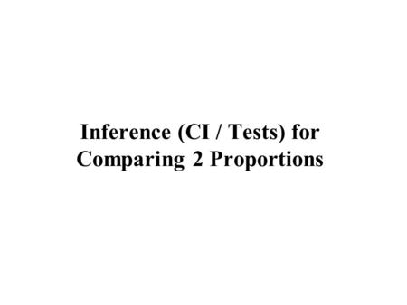 Inference (CI / Tests) for Comparing 2 Proportions.