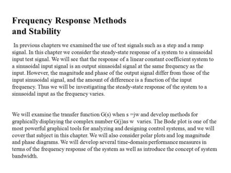 Frequency Response Methods and Stability