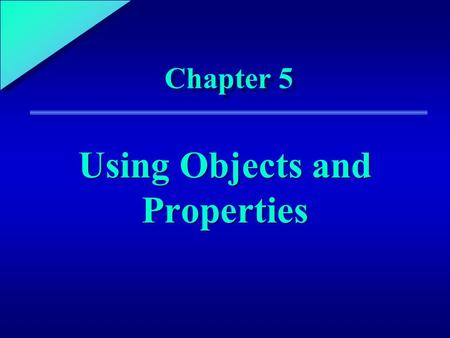 1 Chapter 5 Using Objects and Properties. 5 Chapter Objectives Define and explain the roles of objects and properties in an Access database Describe the.