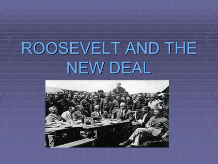 ROOSEVELT AND THE NEW DEAL. CAUSES OF THE GREAT DEPRESSION  OVERPRODUCTION  LOW WAGES  HIGH TARIFFS  UNEMPLOYMENT  REDUCTION IN CONSUMER BUYING POWER.