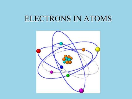 ELECTRONS IN ATOMS. Address of electrons in atoms.
