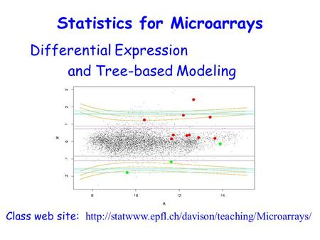 Differential Expression and Tree-based Modeling Class web site:  Statistics for Microarrays.