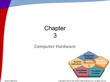 Computer Hardware Chapter 3 McGraw-Hill/IrwinCopyright © 2011 by The McGraw-Hill Companies, Inc. All rights reserved.