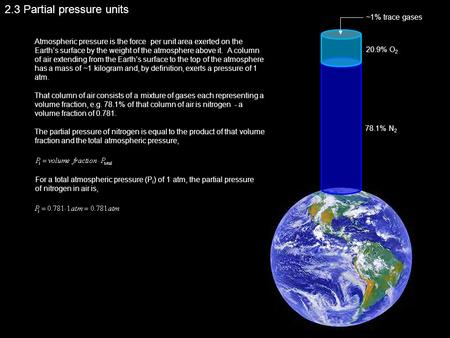 2.3 Partial pressure units Atmospheric pressure is the force per unit area exerted on the Earth's surface by the weight of the atmosphere above it. A column.