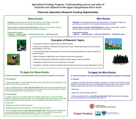 Agricultural Ecology Program: Understanding sources and sinks of nutrients and sediment in the upper Susquehanna River basin Field and Laboratory Research.