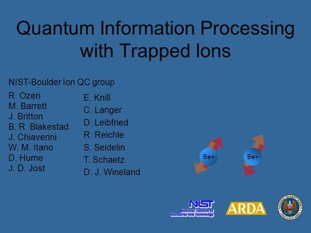 Quantum Information Processing with Trapped Ions E. Knill C. Langer D. Leibfried R. Reichle S. Seidelin T. Schaetz D. J. Wineland NIST-Boulder Ion QC group.