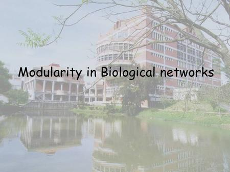 Modularity in Biological networks.  Hypothesis: Biological function are carried by discrete functional modules.  Hartwell, L.-H., Hopfield, J. J., Leibler,