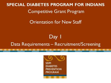 Special Diabetes Program for Indians Competitive Grant Program SPECIAL DIABETES PROGRAM FOR INDIANS Competitive Grant Program Orientation for New Staff.