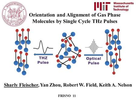 Sharly Fleischer, Yan Zhou, Robert W. Field, Keith A. Nelson FRISNO 11 Orientation and Alignment of Gas Phase Molecules by Single Cycle THz Pulses.