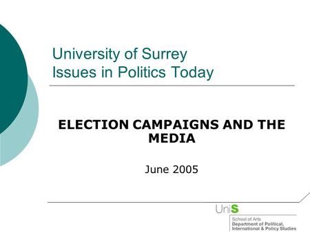 University of Surrey Issues in Politics Today ELECTION CAMPAIGNS AND THE MEDIA June 2005.