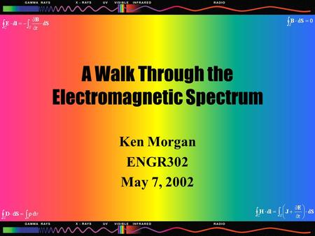 A Walk Through the Electromagnetic Spectrum Ken Morgan ENGR302 May 7, 2002.