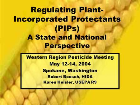 Regulating Plant- Incorporated Protectants (PIPs) A State and National Perspective Western Region Pesticide Meeting May 12-14, 2004 Spokane, Washington.