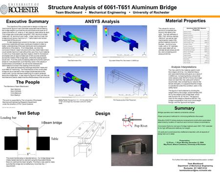 Structure Analysis of 6061-T651 Aluminum Bridge Team Blackboard Mechanical Engineering University of Rochester Team Blackboard Department of Mechanical.